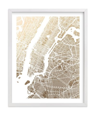 Minted foil map print